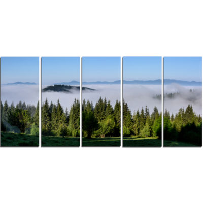 Green Trees And Fog Over Mountains Landscape Canvas Art Print - 5 Panels