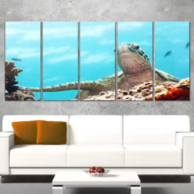 Designart Green Turtle Underwater View Oversized Animal WallArt - 4 Panels