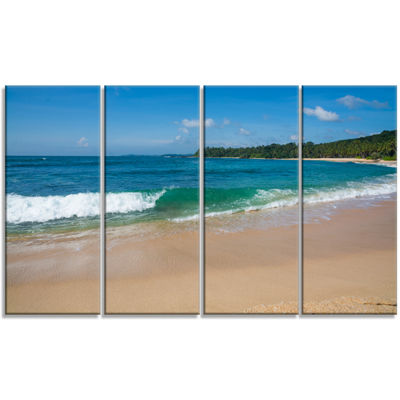 Designart Green Wave On Sandy Paradise Beach Modern SeashoreCanvas Art - 4 Panels