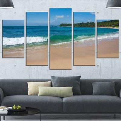 Designart Green Wave On Sandy Paradise Beach Modern SeashoreCanvas Art - 5 Panels
