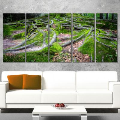 Designart Green Wild Deep Moss Forest Landscape Canvas Art Print - 4 Panels