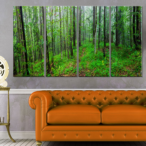 Designart Green Wild Forest With Dense Trees Forest Canvas Art Print - 4 Panels