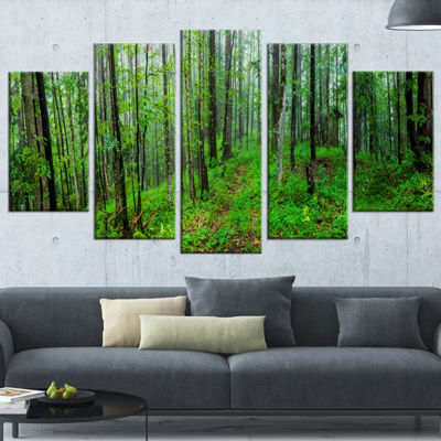 Designart Green Wild Forest With Dense Trees Forest WrappedCanvas Art Print - 5 Panels