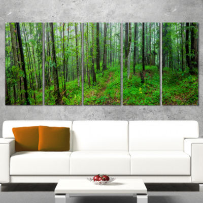 Designart Green Wild Forest With Dense Trees Forest Canvas Art Print - 5 Panels