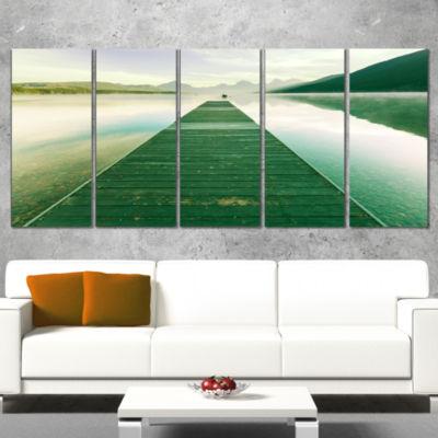 Designart Green Wood Pier At Glacier Park SeashoreCanvas Art Print - 5 Panels