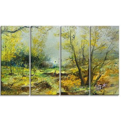 Designart Green Yellow Deep Forest Landscape Art Print Canvas - 4 Panels