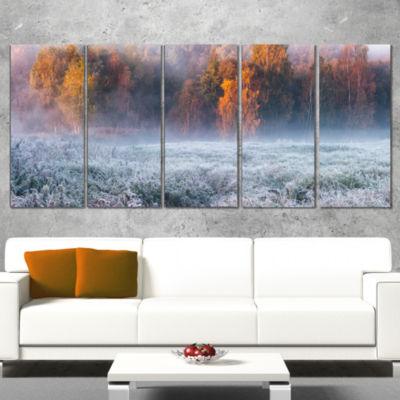 Designart Grey Hoarfrost Design By Winter Landscape Print Wall Artwork - 4 Panels