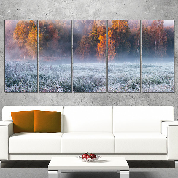 Designart Grey Hoarfrost Design By Winter Landscape Print Wall Artwork - 5 Panels