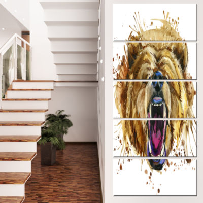 Designart Growling Grizzly Bear Watercolor Abstract Canvas Art Print - 5 Panels