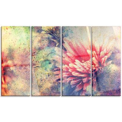 Designart Grunge Art With Flower And Splashes Flower ArtworkOn Canvas - 4 Panels
