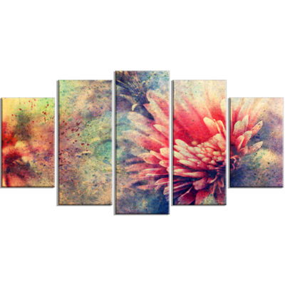 Designart Grunge Art With Flower And Splashes Flower ArtworkOn Wrapped Canvas - 5 Panels