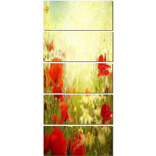 Designart Grunge Background With Red Poppies Floral Canvas Art Print - 5 Panels