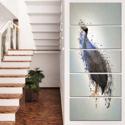 Designart Guinea Fowl Abstract Design Animal Canvas Wall Art- 5 Panels