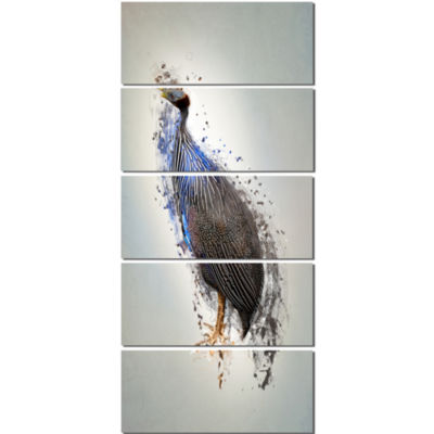 Guinea Fowl Abstract Design Animal Canvas Wall Art- 5 Panels
