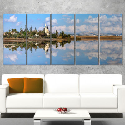 Designart Hala Sulttan Tekke In Cyprus Panorama Extra LargeSeashore Canvas Art - 4 Panels