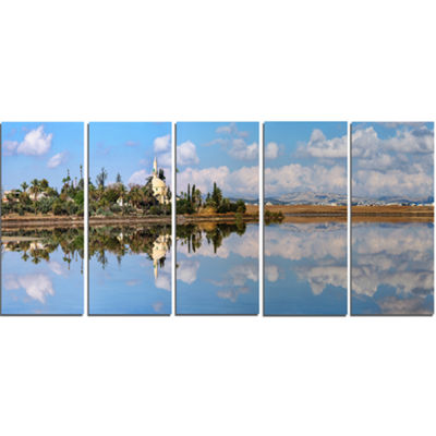 Designart Hala Sulttan Tekke In Cyprus Panorama Extra LargeSeashore Canvas Art - 5 Panels
