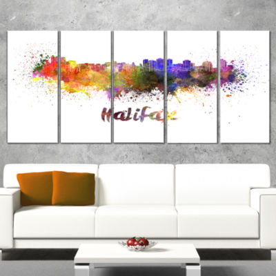 Designart Halifax Skyline Cityscape Canvas ArtworkPrint - 4Panels