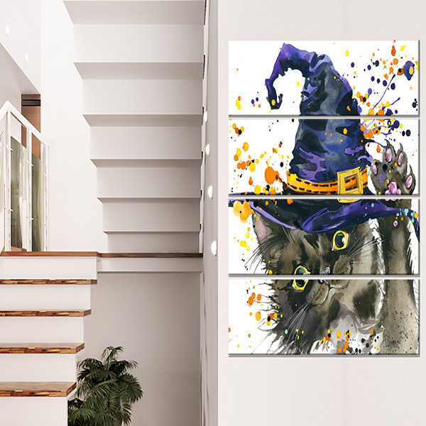 Designart Halloween Cat And Witch Hat ContemporaryAnimal Art Canvas - 4 Panels