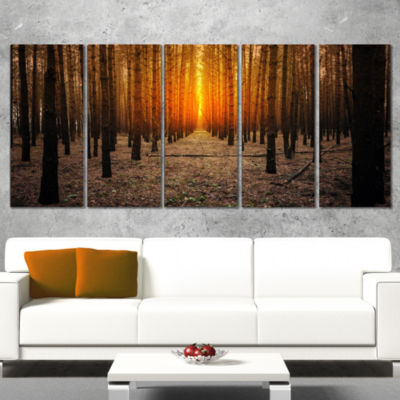 Designart Halloween Themed Spooky Dark Forest Oversized Forest Wrapped Canvas Art - 5 Panels