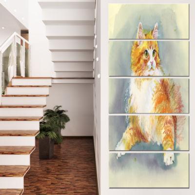 Designart Hand Drawn Watercolor Cat Animal CanvasWall Art -5 Panels