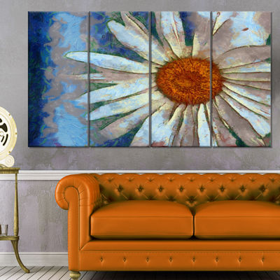 Designart Hand Drawn White Chamomile Flower FlowerArtwork On Canvas - 4 Panels