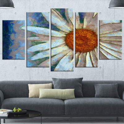 Designart Hand Drawn White Chamomile Flower FlowerArtwork On Wrapped Canvas - 5 Panels