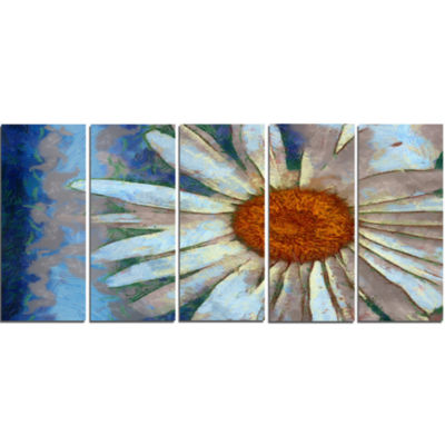 Hand Drawn White Chamomile Flower Flower Artwork On Canvas - 5 Panels