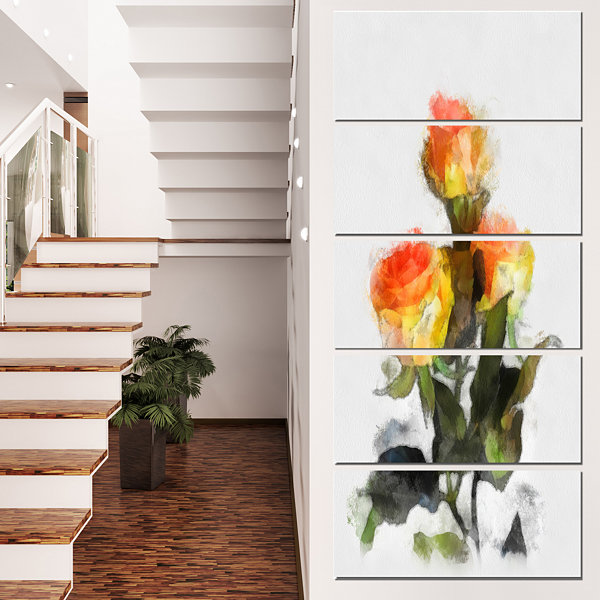 Designart Hand Drawn Yellow And Red Roses Floral Canvas ArtPrint - 4 Panels