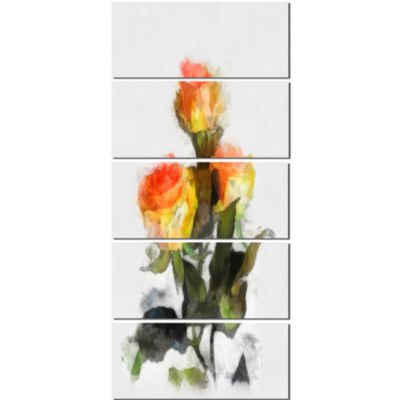 Hand Drawn Yellow And Red Roses Floral Canvas ArtPrint - 5 Panels