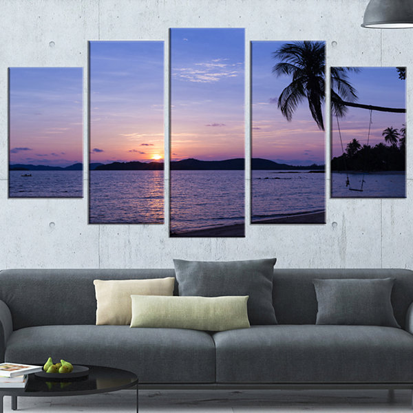 Designart Hanging Seat In Blue Sunset Beach ModernSeashoreWrapped Canvas Art - 5 Panels