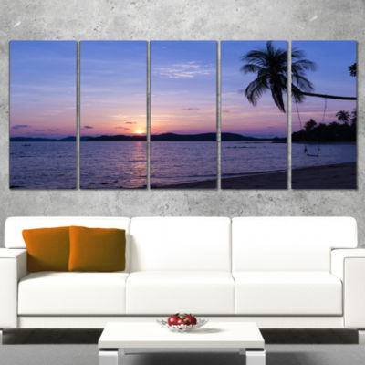 Designart Hanging Seat In Blue Sunset Beach ModernSeashoreCanvas Art - 5 Panels