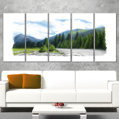 Happy Summer Pastures In Mountains Landscape Wrapped Canvas Art Print - 5 Panels