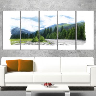 Designart Happy Summer Pastures In Mountains Landscape Wrapped Canvas Art Print - 5 Panels