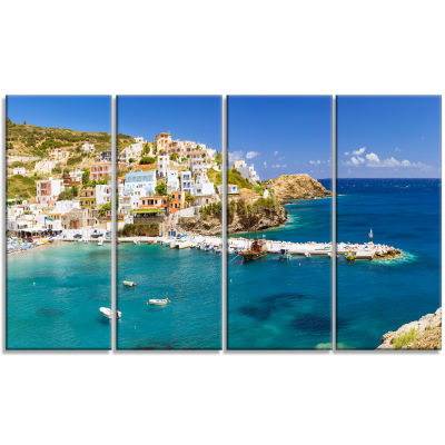 Harbor With Vessels And Boats Large Seascape Art Canvas Print - 4 Panels