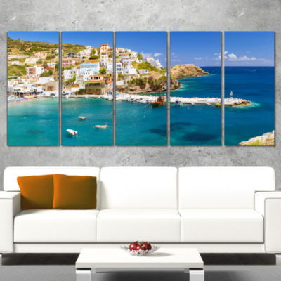 Designart Harbor With Vessels And Boats Large Seascape Art Wrapped Canvas Print - 5 Panels