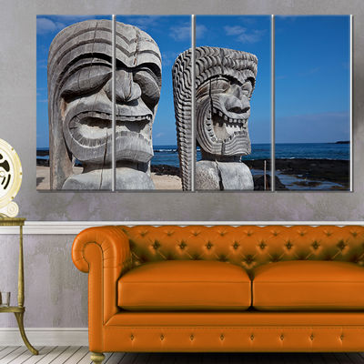 Designart Hawaiian Tiki Gods Oversized Landscape Canvas Art- 4 Panels