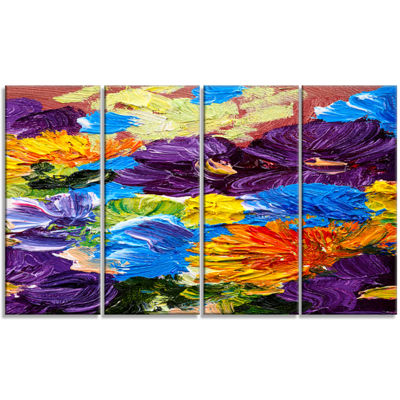 Designart Heavily Textured Abstract Flowers Abstract CanvasPrint - 4 Panels