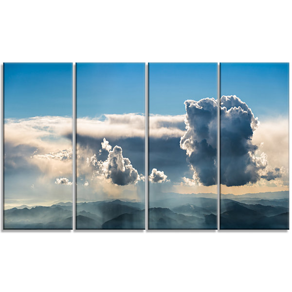 Designart Heavy Clouds In Sky Panoramic View Landscape Canvas Art Print - 4 Panels