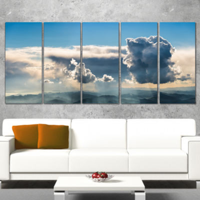Designart Heavy Clouds In Sky Panoramic View Landscape Wrapped Canvas Art Print - 5 Panels