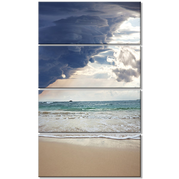 Designart Heavy Clouds Over Pacific Ocean SeascapeCanvas Art Print - 4 Panels