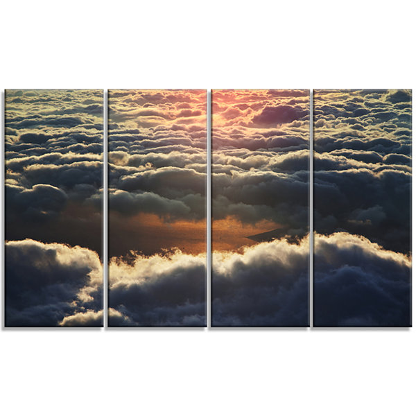 Designart Heavy Dark Clouds At Sunset Floral Canvas Art Print - 4 Panels