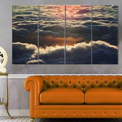 Heavy Dark Clouds At Sunset Floral Canvas Art Print - 4 Panels