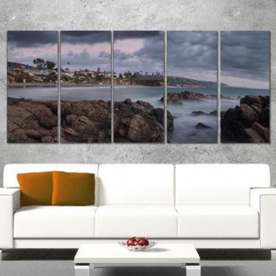 Heavy Rain Clouds Over Crescent Bay Oversized Landscape Wall Art Print - 4 Panels