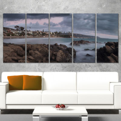 Designart Heavy Rain Clouds Over Crescent Bay Oversized Landscape Wrapped Wall Art Print - 5 Panels