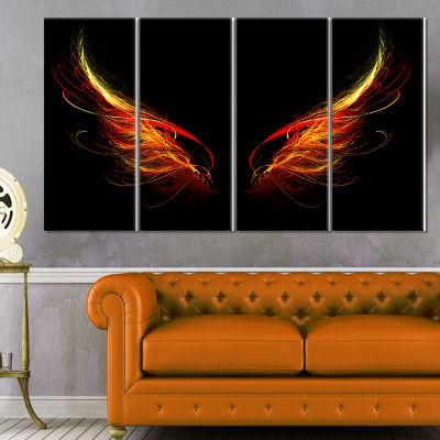 Designart Hell Wings On Black Background AbstractWall Art Canvas - 4 Panels