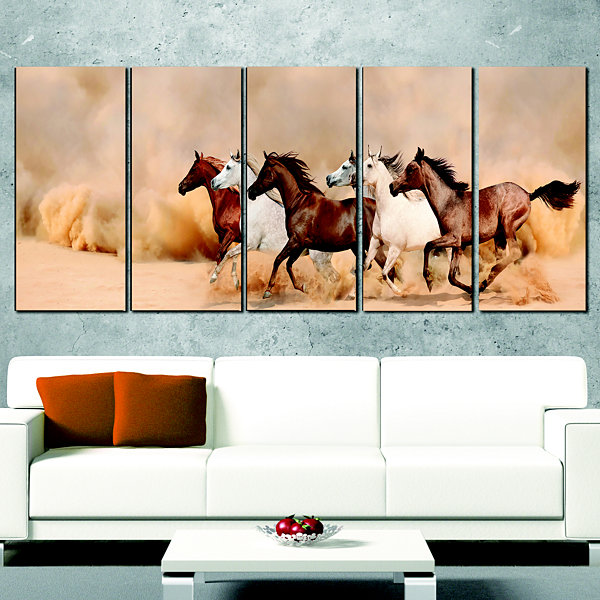 Designart Herd Gallops In Sand Storm Landscape Photography Wrapped Canvas Art Print - 5 Panels