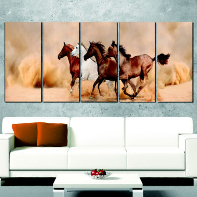 Designart Herd Gallops In Sand Storm Landscape Photography Wrapped Canvas Print - 5 Panels