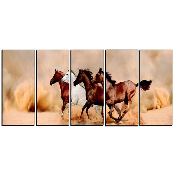 Designart Herd Gallops In Sand Storm Landscape Photography Canvas Print - 5 Panels