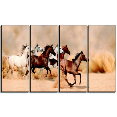 Designart Herd Gallops In Sand Storm Photography Canvas ArtPrint - 4 Panels