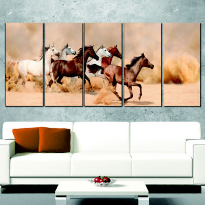 Herd Gallops In Sand Storm Photography Wrapped Canvas Art Print - 5 Panels